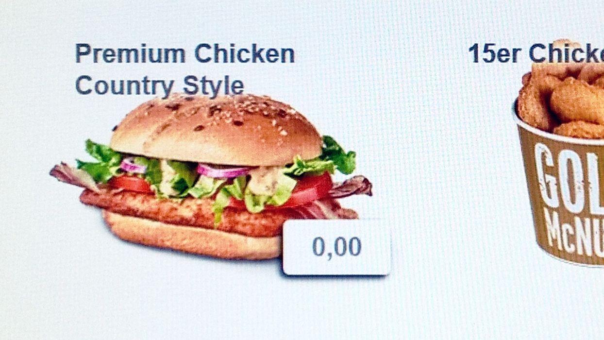 0 Euro Burger Bug @ Easy Order Terminal bei McDonald