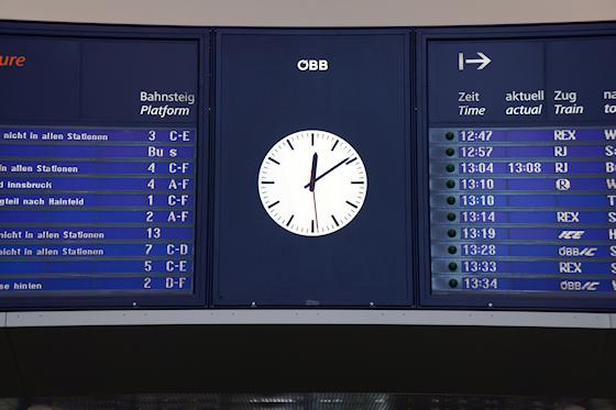 Bahnhof St. Pölten Uhr und Informationsanzeige