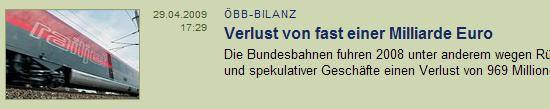 ÖBB Bilanz: Velust von fast einer Millarde Euro, derStandard.at