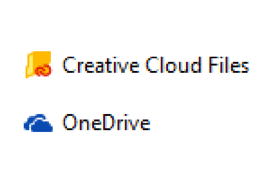 Creative Cloud Files und OneDrive-Symbol im Windows 10 Datei-Explorer