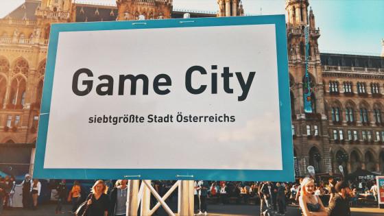 Game City Wien Schild: siebtgrößte Stadt Österreichs