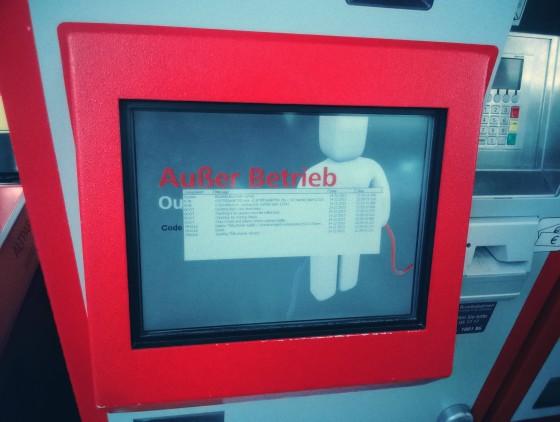 ÖBB-Ticketautomat: Außer Betrieb mit Log-Screen