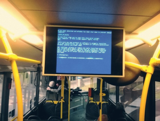 Blue Screen of Death im LUP-Bus in St. Pölten