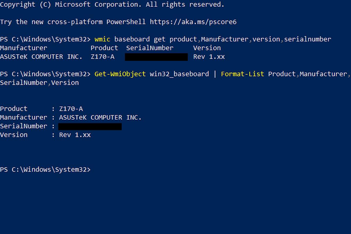 Windows 10: Über die Kommandozeile / PowerShell herausfinden, welches Motherboard installiert ist.