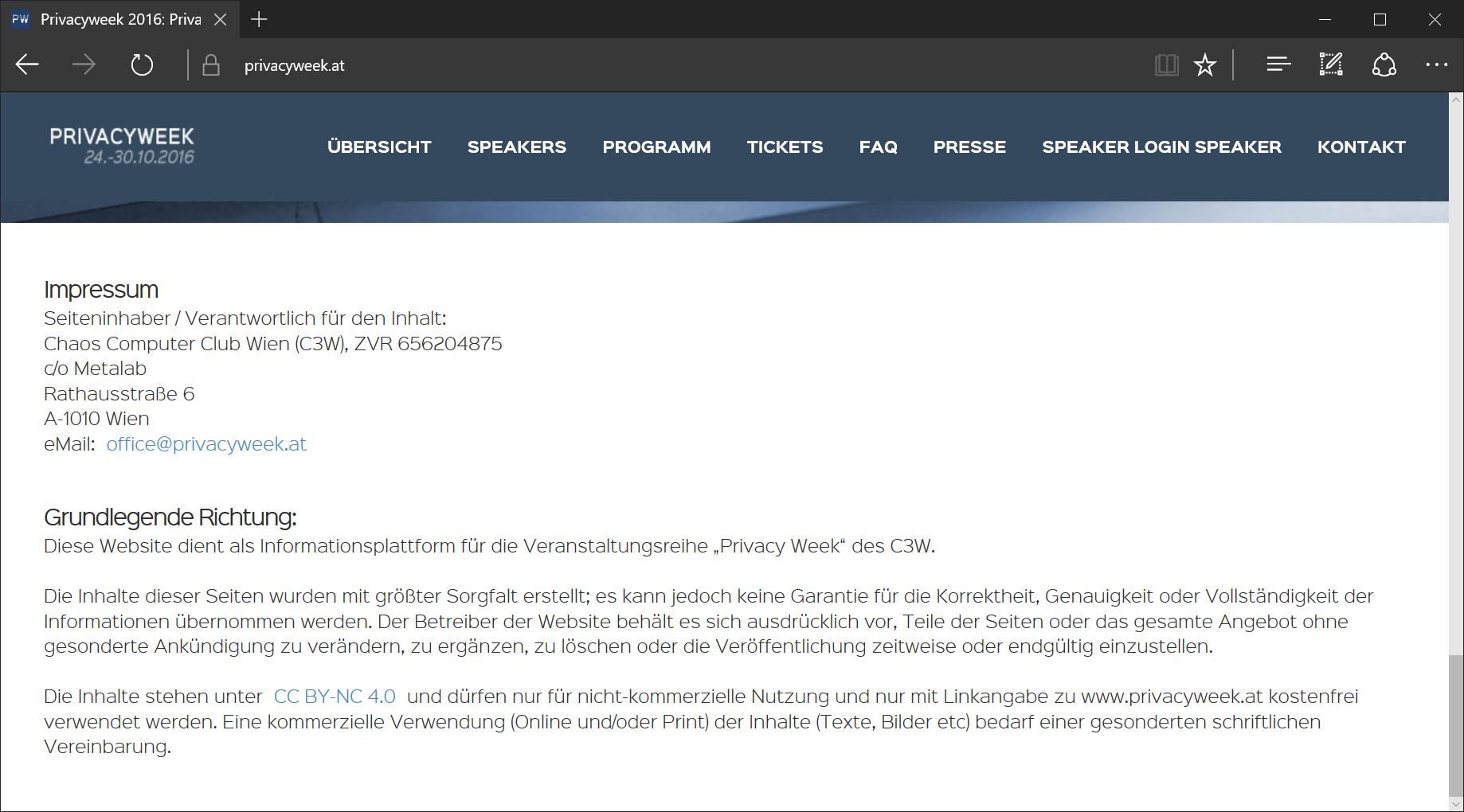 Screenshot von privacyweek.at. Die Seite hat ein Impressum aber keine Datenschutzerklärung. Aufgerufen am 2016-10-22.