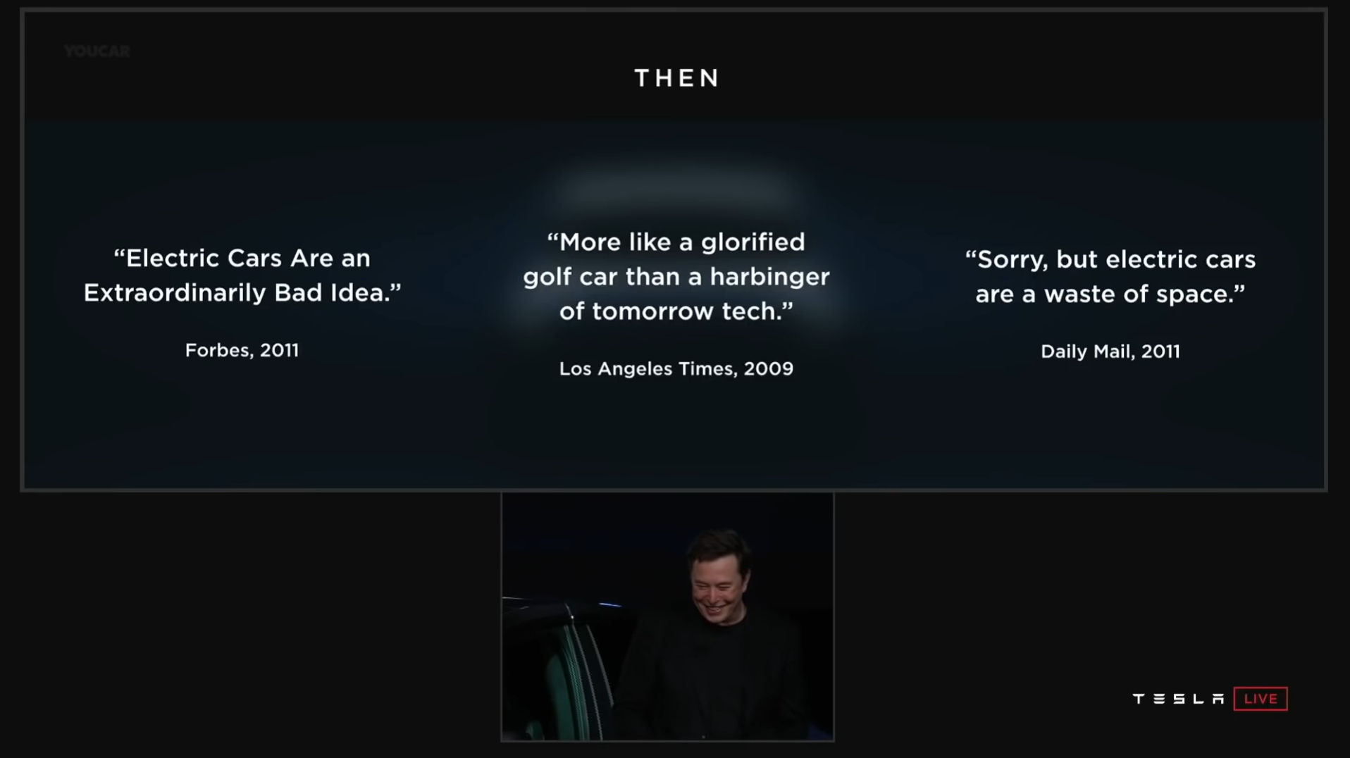 Tesla Elon Musk Now Then Quotes 2011 Model Y Presentation