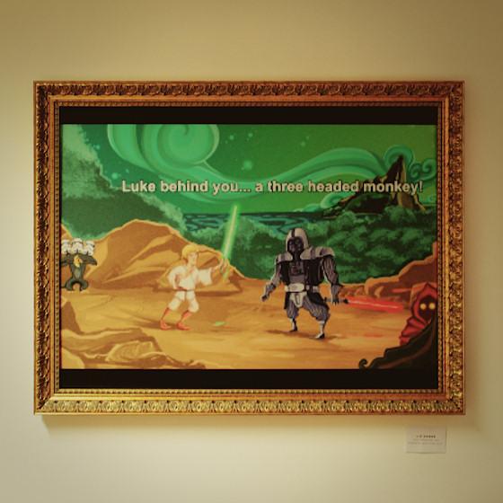 """Monkey Island Schwertkampf: Luke behind you ... a three headed monkey ;P """"Wie passend, du kämpfst wie eine Kuh."""" von Liz Hanke @ We Love 8-Bit Ausstellung Wien"""