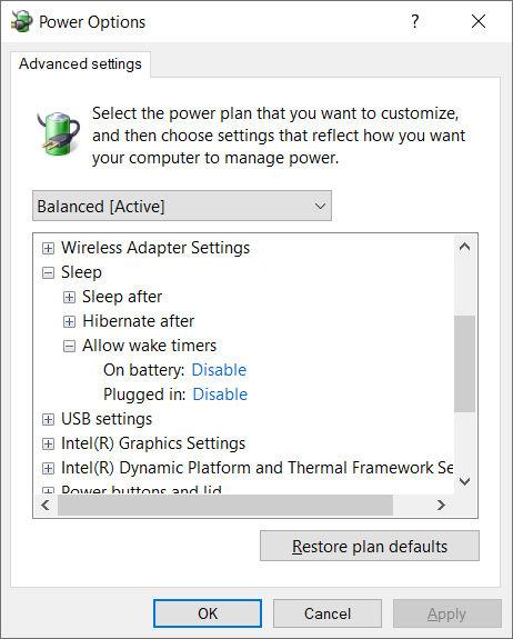 Windows 10 erweiterte Energie-Einstellung: Zeitgeber zur Aktivierung zulassen (Sleep > Allow wake timers)