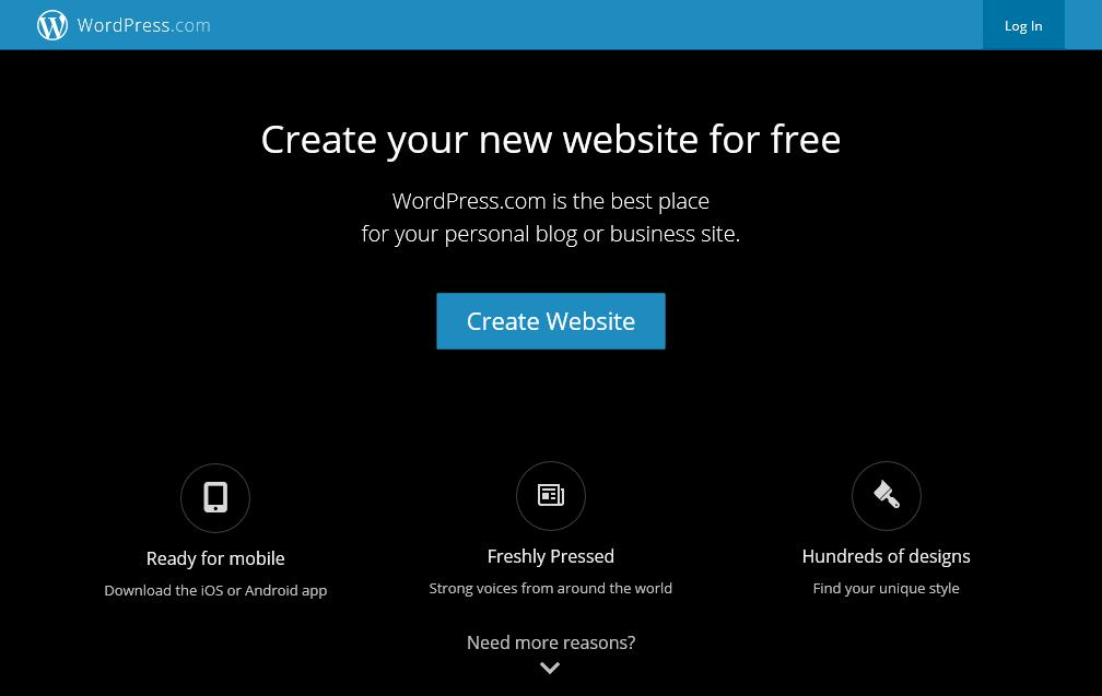 wordpress.com screenshot 2015-02-10: Create your new website for free
